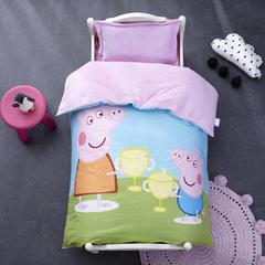 御棉坊棉加绒加厚保暖水晶绒幼儿园三件套被子婴童套件 单独被套+丝绵被芯 佩琪猪