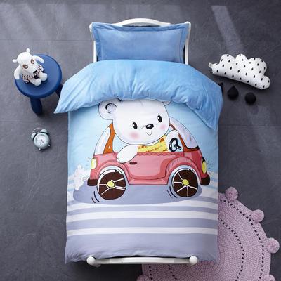 棉加绒加厚保暖水晶绒幼儿园三件套被子婴童套件 丝绵款六件套 汽车熊