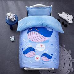 御棉坊棉加绒加厚保暖水晶绒幼儿园三件套被子婴童套件 丝绵款六件套 小鲸鱼