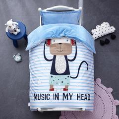 御棉坊棉加绒加厚保暖水晶绒幼儿园三件套被子婴童套件 单独被套+棉花被芯(3斤) 音乐潮猴