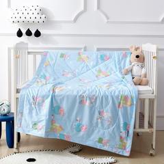 御棉坊 全棉儿童夏被 纯棉夏凉被 空调被幼儿园被 110*150cm 佩琪一家-蓝