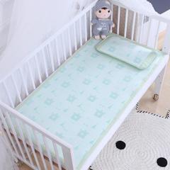 御棉坊    儿童凉席两件套 婴儿冰丝凉席幼儿园席子 25X45cm单枕头 嘟嘟熊-绿