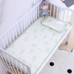 御棉坊    儿童凉席两件套 婴儿冰丝凉席幼儿园席子 25X45cm单枕头 恐龙宝贝-绿