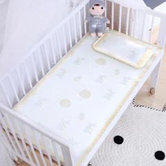 御棉坊    儿童凉席两件套 婴儿冰丝凉席幼儿园席子 60X120cm两件套 林中小兔-金黄色