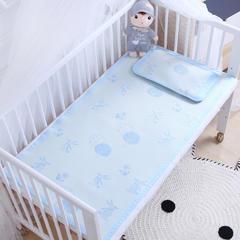 御棉坊    儿童凉席两件套 婴儿冰丝凉席幼儿园席子 60X120cm两件套 林中小兔-蓝