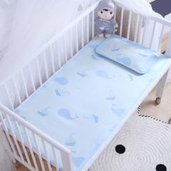 御棉坊    儿童凉席两件套 婴儿冰丝凉席幼儿园席子 80X150cm两件套 扬帆鲸鱼-蓝