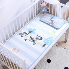 卡通大版儿童凉席两件套婴儿冰丝凉席幼儿园席子 25X45cm单枕头 斑马