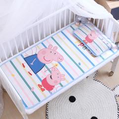御棉坊    卡通大版儿童凉席两件套婴儿冰丝凉席幼儿园席子 80X150cm两件套 彩色条纹佩琪