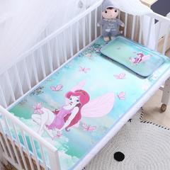 卡通大版儿童凉席两件套婴儿冰丝凉席幼儿园席子 25X45cm单枕头 蝴蝶仙子