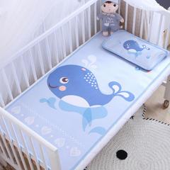 卡通大版儿童凉席两件套婴儿冰丝凉席幼儿园席子 25X45cm单枕头 可爱小鲸鱼