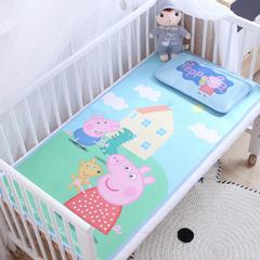 卡通大版儿童凉席两件套婴儿冰丝凉席幼儿园席子 25X45cm单枕头 佩琪和乔治