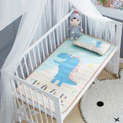 御棉坊    卡通大版儿童凉席两件套婴儿冰丝凉席幼儿园席子 60X135cm两件套 俏皮恐龙-绿