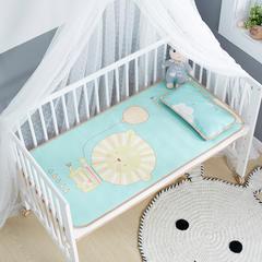 御棉坊    卡通大版儿童凉席两件套婴儿冰丝凉席幼儿园席子 25X45cm单枕头 小狮子-绿