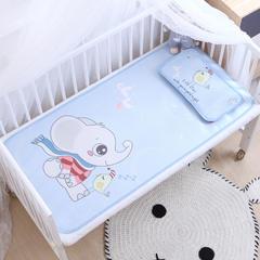 御棉坊    卡通大版儿童凉席两件套婴儿冰丝凉席幼儿园席子 25X45cm单枕头 小象