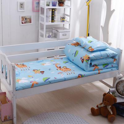 全棉独版幼儿园套件 儿童套件幼儿园被子三件套宝宝午睡六件套 丝绵款六件套 动物乐园-蓝