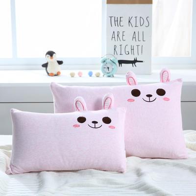 卡通针织绣花儿童枕-30X50CM 幼儿园婴童枕头 萌兔-粉