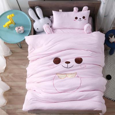 A类针织棉绣花儿童套件幼儿园三件套宝宝午睡被子六件套 丝绵款六件套 萌兔-粉