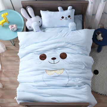 A类针织棉绣花儿童套件幼儿园三件套宝宝午睡被子六件套