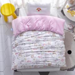 2018新款-(两用派)全棉+水晶绒幼儿园儿童单品被套 150X200cm 丛林小鹿-粉白