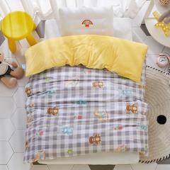 2018新款-(两用派)全棉+水晶绒幼儿园儿童单品被套 150X200cm 小木马-灰