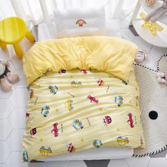 2018新款-(两用派)全棉+水晶绒幼儿园儿童单品被套 150X200cm 小汽车-黄