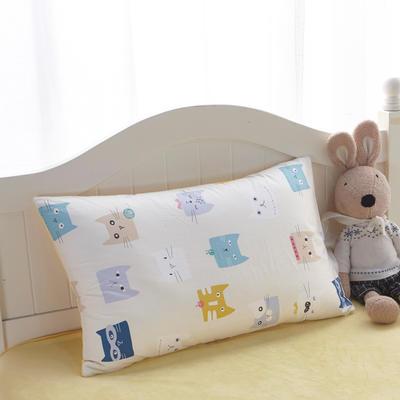 2018新款-(两用派)全棉+水晶绒幼儿园儿童单品枕套 48cmx74cm 多彩猫