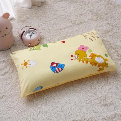 2018新款-(两用派)全棉+水晶绒幼儿园儿童单品枕套 48cmx74cm 可爱小恐龙-黄