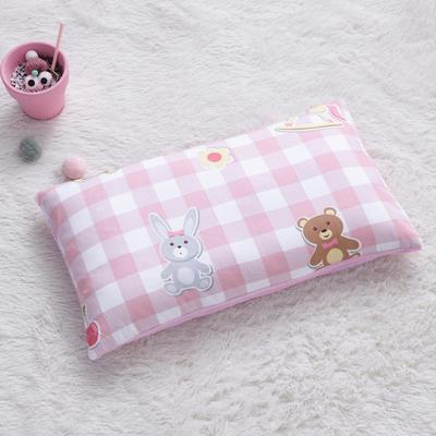 2018新款-(两用派)全棉+水晶绒幼儿园儿童单品枕套 48cmx74cm 小木马-粉