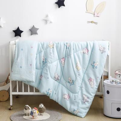全棉双层纱被芯婴幼儿包被儿童冬被春秋被幼儿园小被子 120x150cm2.5斤 萌心兔-蓝