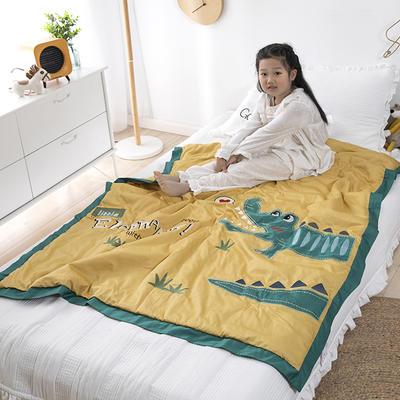 韩式A类60支全棉绣花抗菌防螨儿童夏被夏凉被空调被幼儿园被子 120x150cm单夏被 爱心小鳄-黄