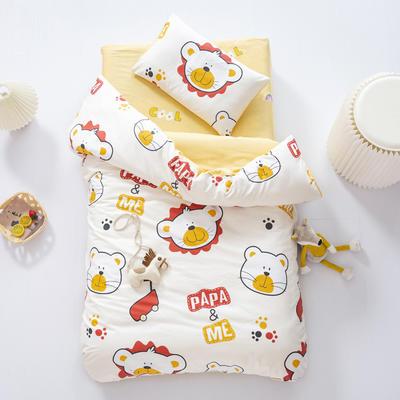 2020新款全棉幼儿园套件儿童被子三件套宝宝午睡棉被褥含芯六件套 垫套款三件套不含芯 PAPA小狮