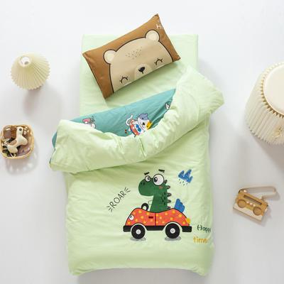 2020新款A类全棉绣花幼儿园儿童套件幼儿园被子三件套宝宝午睡六件套 2斤羽丝绒芯六件套 动车恐龙-绿