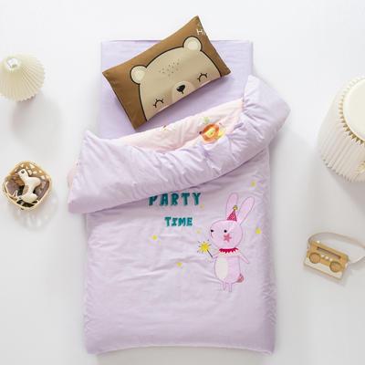 2020新款A类全棉绣花幼儿园儿童套件幼儿园被子三件套宝宝午睡六件套 2斤羽丝绒芯六件套 魔法小兔子