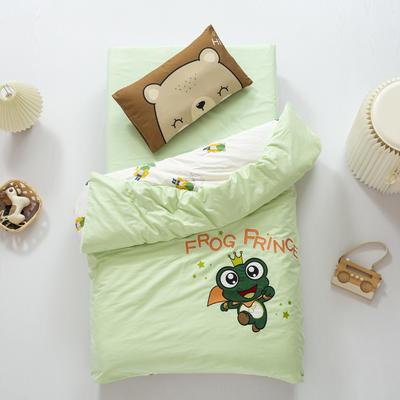 2020新款A类全棉绣花幼儿园儿童套件幼儿园被子三件套宝宝午睡六件套 2斤羽丝绒芯六件套 青蛙王子