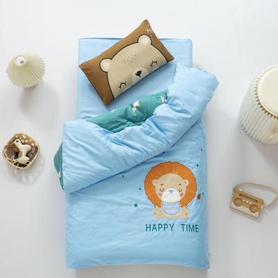 2020新款A类全棉绣花幼儿园儿童套件幼儿园被子三件套宝宝午睡六件套 2斤羽丝绒芯六件套 狮子之约-蓝
