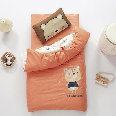 2020新款A类全棉绣花幼儿园儿童套件幼儿园被子三件套宝宝午睡六件套 2斤羽丝绒芯六件套 小熊宝贝-橘