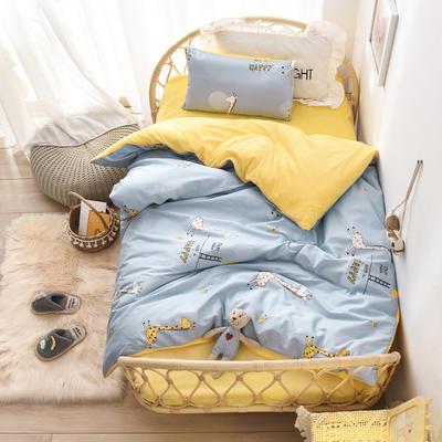 棉加绒幼儿园被子三件套儿童套件水晶绒法莱绒午睡六件套 三件套不含芯 HAPPY小鹿-蓝