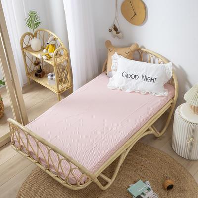 2020新款格子系列A类全棉水洗棉儿童床单 120*180cm 粉格