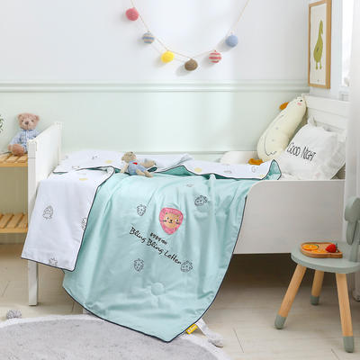 御棉坊 A类40s全棉绣花儿童夏被 幼儿园被子夏凉被空调被 150x200cm 草莓猫-绿