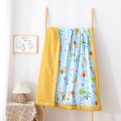 2021新款A类全棉水洗棉儿童夏被 幼儿园被子夏凉被空调被 150x200cm 猛小兽-蓝