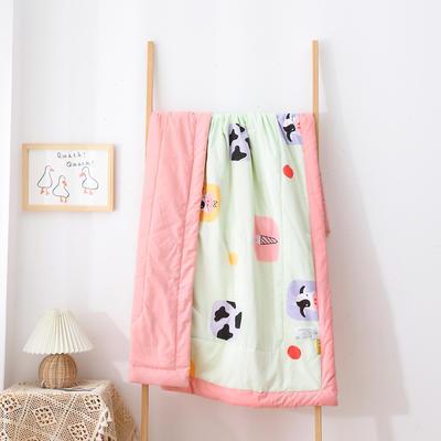 2021新款A类全棉水洗棉儿童夏被 幼儿园被子夏凉被空调被 150x200cm 奶牛甜甜-绿