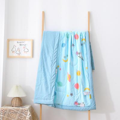 2021新款A类全棉水洗棉儿童夏被 幼儿园被子夏凉被空调被 150x200cm 太空小怪兽-浅蓝