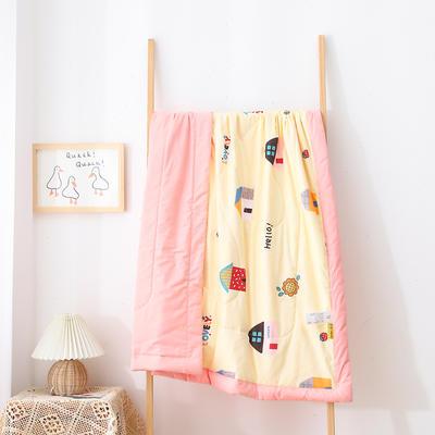 2021新款A类全棉水洗棉儿童夏被 幼儿园被子夏凉被空调被 150x200cm 炫彩小屋-黄