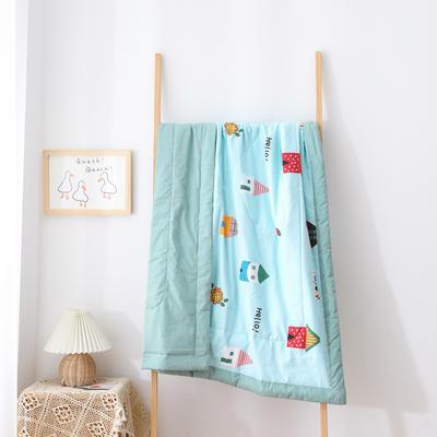 2021新款A类全棉水洗棉儿童夏被 幼儿园被子夏凉被空调被 150x200cm 炫彩小屋-蓝