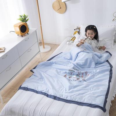 韩式A类60支全棉绣花儿童夏被 幼儿园被子夏凉被空调被 120x150cm 兔兔巴士-蓝