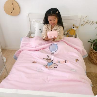 莫代尔抗菌防螨绣花儿童夏被 幼儿园被子夏凉被空调被 120x150cm 飞翔小兔-粉