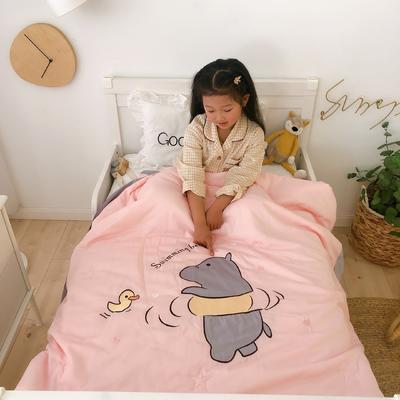 莫代尔抗菌防螨绣花儿童夏被 幼儿园被子夏凉被空调被 120x150cm 戏水小熊-玉
