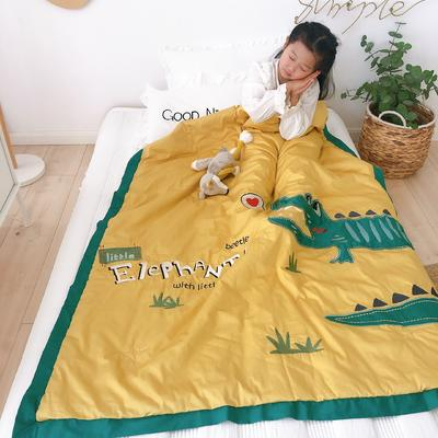韩式A类60支全棉绣花儿童夏被 幼儿园被子夏凉被空调被 120x150cm 爱心小鳄-黄