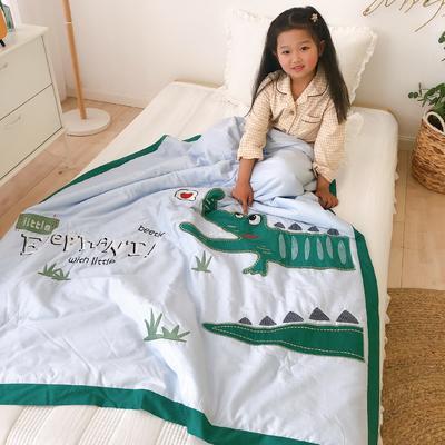 韩式A类60支全棉绣花儿童夏被 幼儿园被子夏凉被空调被 120x150cm 爱心小鳄-蓝