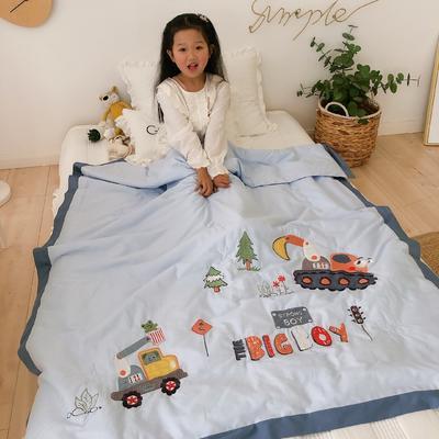 韩式A类60支全棉绣花儿童夏被 幼儿园被子夏凉被空调被 120x150cm 工程小队-蓝